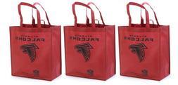 3 Atlanta Falcons Reusable Shopping Grocery Tote Gift Bags -
