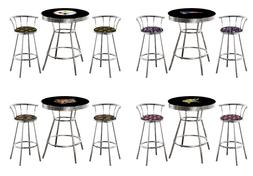 NFL 3 Pc Team Logo Themed Black Bar Table Set with 2 Chrome