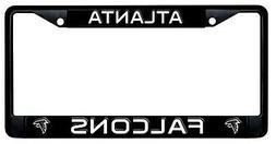 Atlanta Falcons BLACK Metal License Plate Frame Chrome Tag C