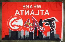 "Atlanta Falcons Braves Hawks ""We Are Atlanta"" FLAG 3x5 ft Sp"