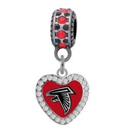 Atlanta Falcons Crystal Heart Charm