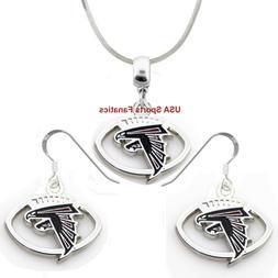 Atlanta Falcons Football Logo Pendant Necklace or Earrings o