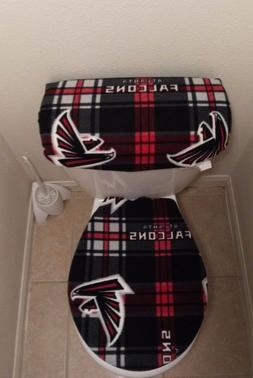 Atlanta Falcons Plaid Fleece Fabric Toilet Seat Cover Set 2P