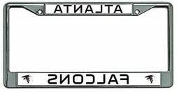 Atlanta Falcons Premium Chrome Frame Metal License Plate Tag