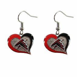 Atlanta FALCONS Swirl Heart Dangle Earrings