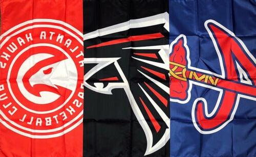 atlanta braves falcons hawks flag 3x5 ft