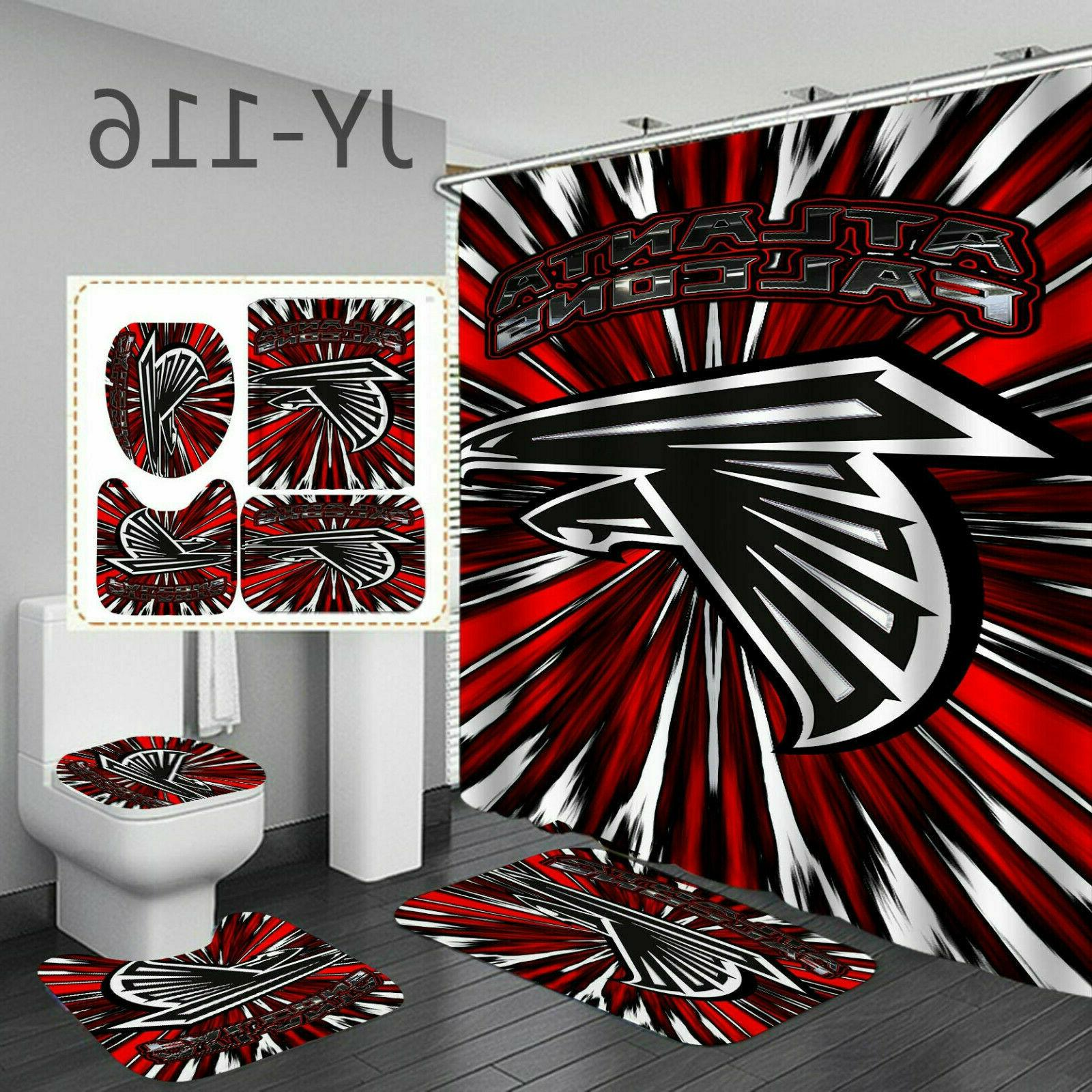 Atlanta Falcons Bath Rugs Shower Curtains 4PCS Non-Slip Mat