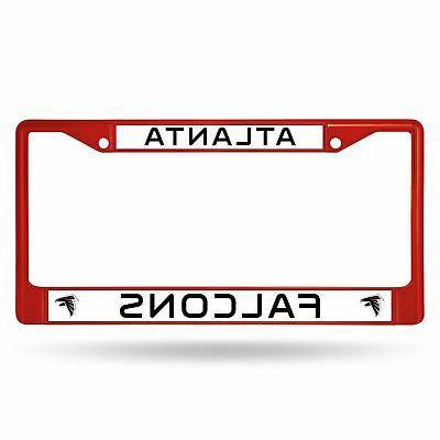 atlanta falcons chrome license plate frame tag