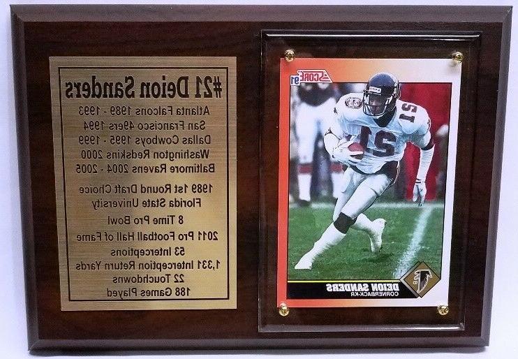 atlanta falcons deion sanders football card plaque