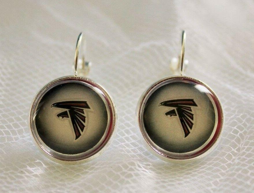 atlanta falcons earrings made from football trading