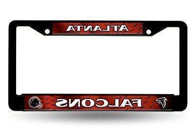 atlanta falcons lbl black plastic frame license