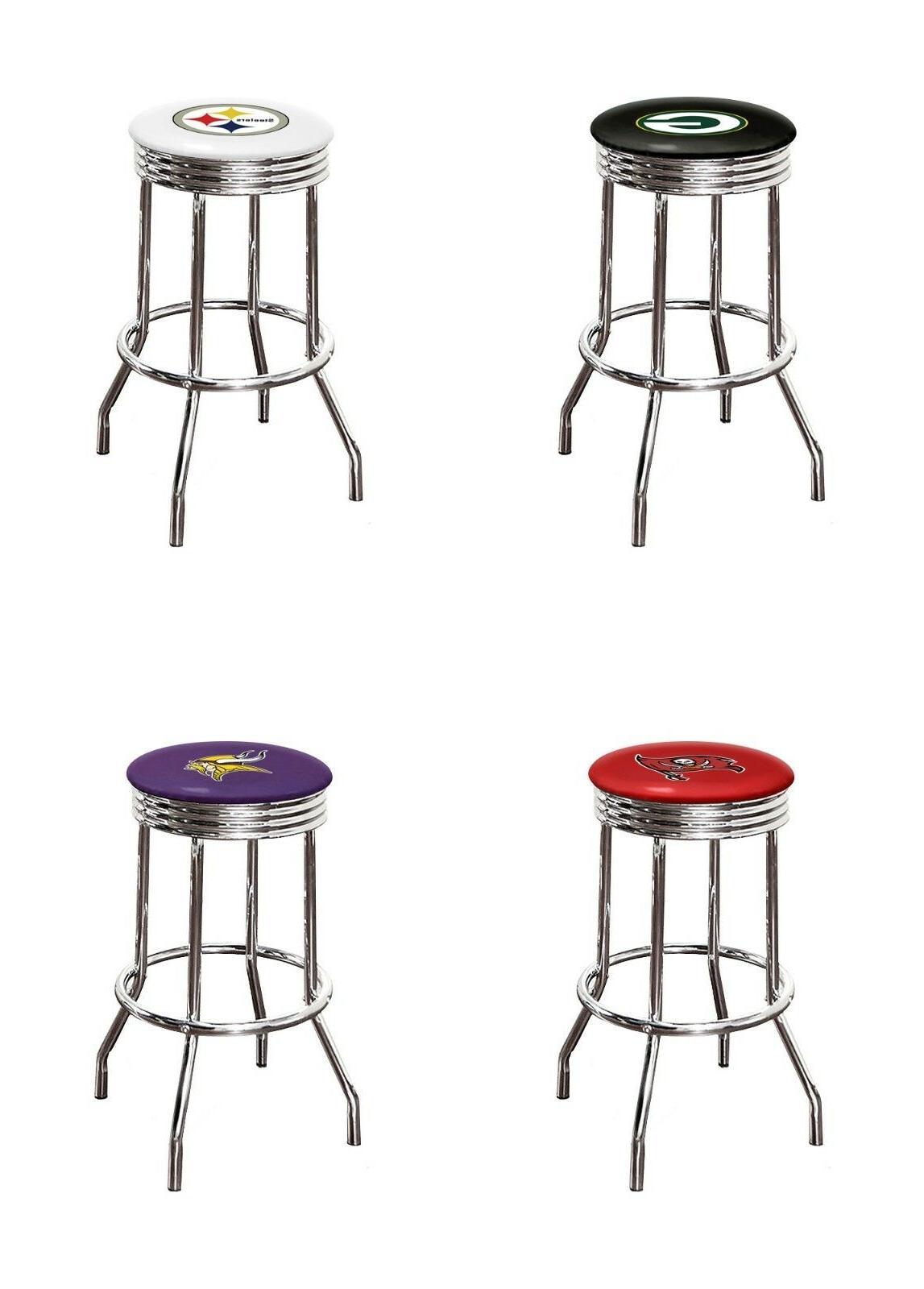 bar stool 29 tall nfl logo chrome