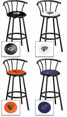 "NFL Bar Stool 24"" Tall Black Metal w/Backrest Swivel Seat wi"