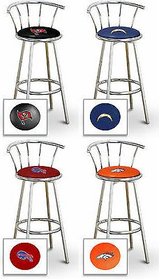"NFL Bar Stool 29"" Tall Chrome Finish Metal Team Logo Decal o"