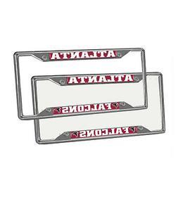 New 2pcs NFL Atlanta Falcons Car Truck Chrome Metal License