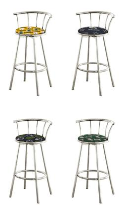 "BAR STOOL NFL 24"" OR 29"" TALL CHROME FINISH SWIVEL SEAT W/ F"