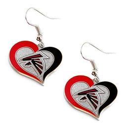 NFL Atlanta Falcons Swirl Heart Earrings, One Size, Multi