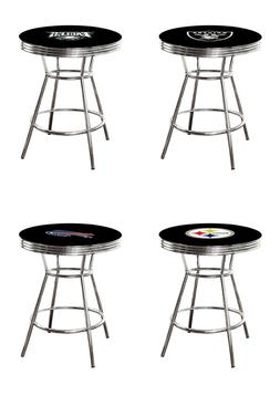 NFL Bar Pub Table Chrome Black Top with Football Team Logo G