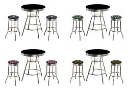 NFL BLACK CHROME PUB TABLE SET W/BACKLESS SWIVEL STOOLS FOOT
