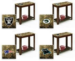 NFL End Night Table Cappuccino Finish Wood Faux Marble Top w