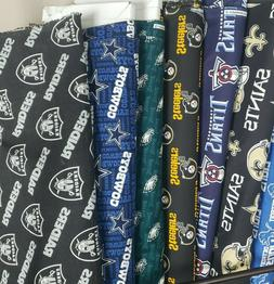 NFL Football Cotton Fabric By The 1/4 YARD - PICK TEAM - for