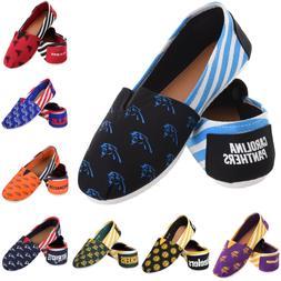 NFL Football Team Logo Stripe Womens Slip On Canvas Shoes -