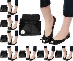 NFL Football Team Logo Womens Black Foldable Slip On Flats S