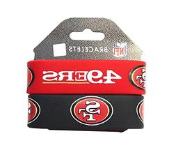 NFL San Francisco 49ers Silicone Rubber Bracelet, 2-Pack