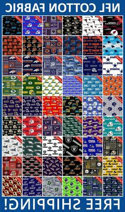 "NFL Sport All Teams Collection Cotton Fabric - 60"" Wide - Fr"