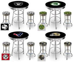 Bar Pub Table Set NFL Team Logo on Black and Chrome w/2 Swiv