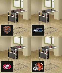 NFL Team Logo on Glass Top of Black and Chrome TV Tray Magaz